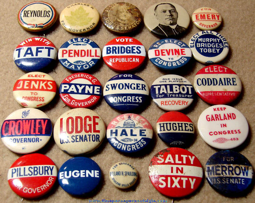 (25) Miscellaneous Assorted Old Political Campaign Pin Back Buttons