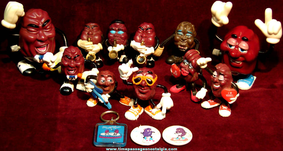 (14) 1980s California Raisin Advertising Character Items