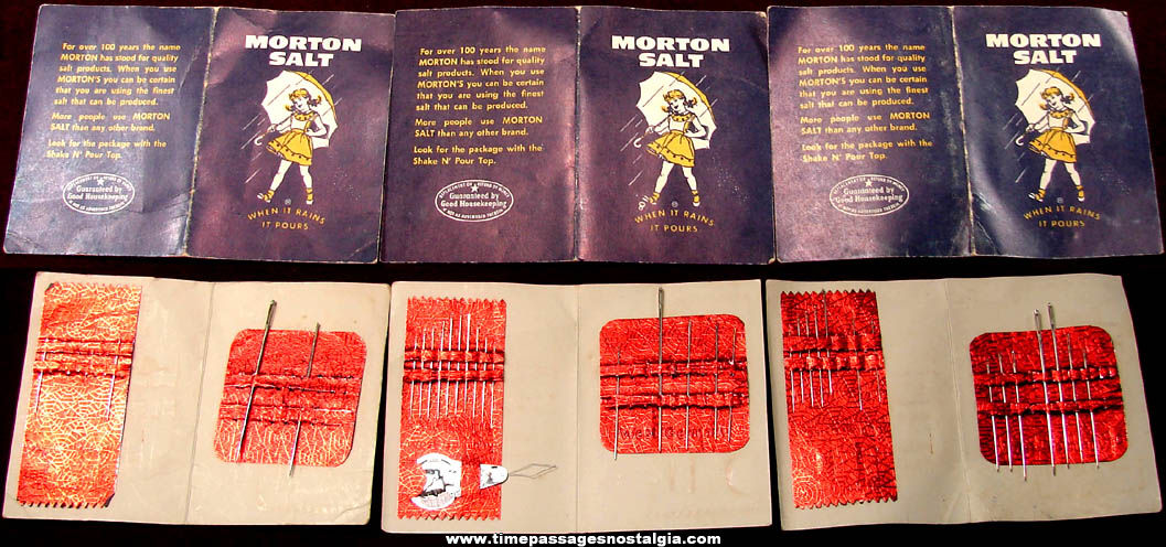 (3) Old Morton Salt Advertising Premium Needle Books