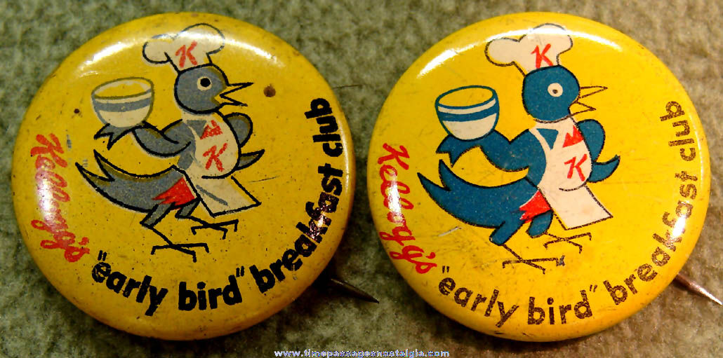 (2) Old Kellogg's Cereal Early Bird Breakfast Club Advertising Pin Back Buttons