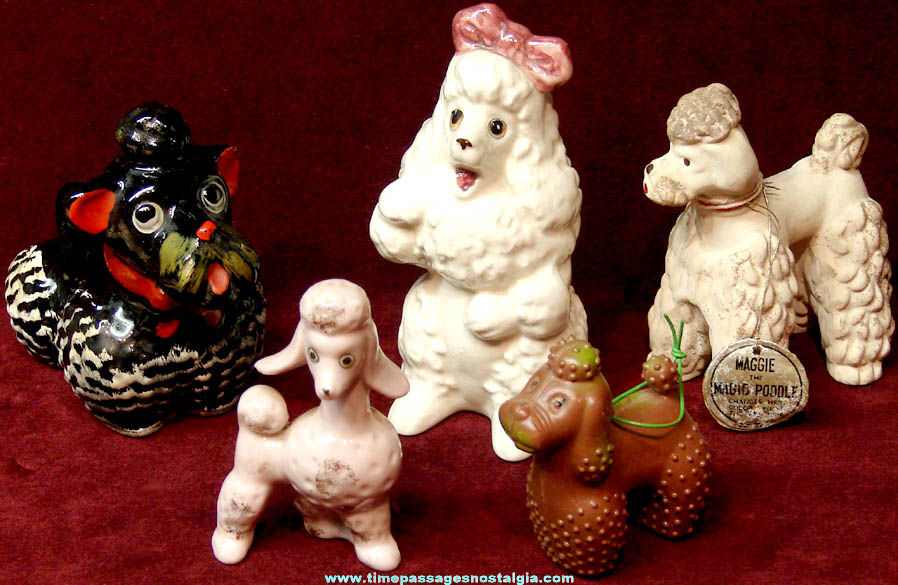 (5) Different Small Old Poodle Dog Figurines
