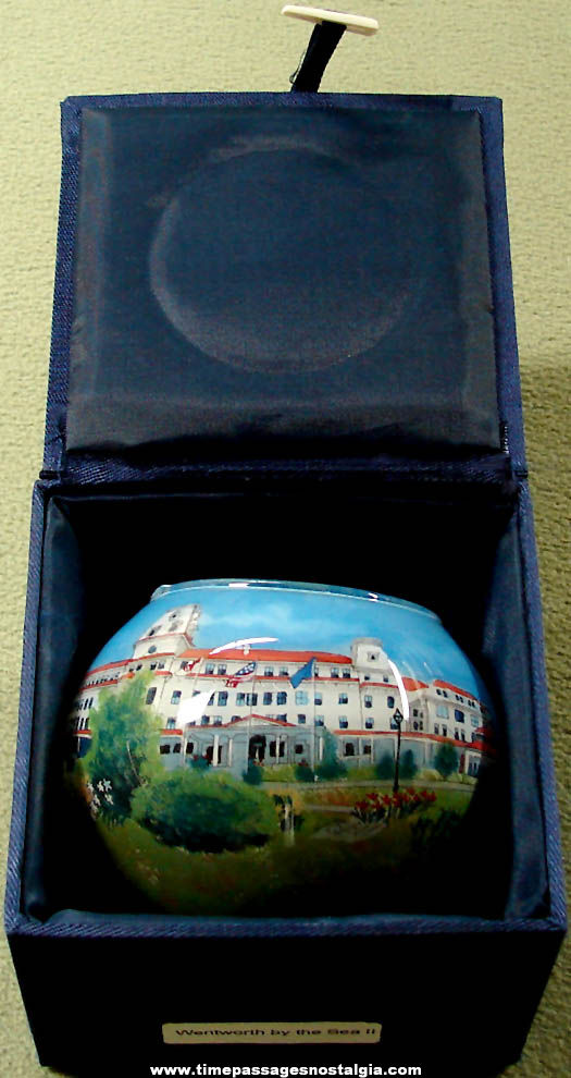 Boxed Wentworth By The Sea Advertising Souvenir Reverse Painted Vase