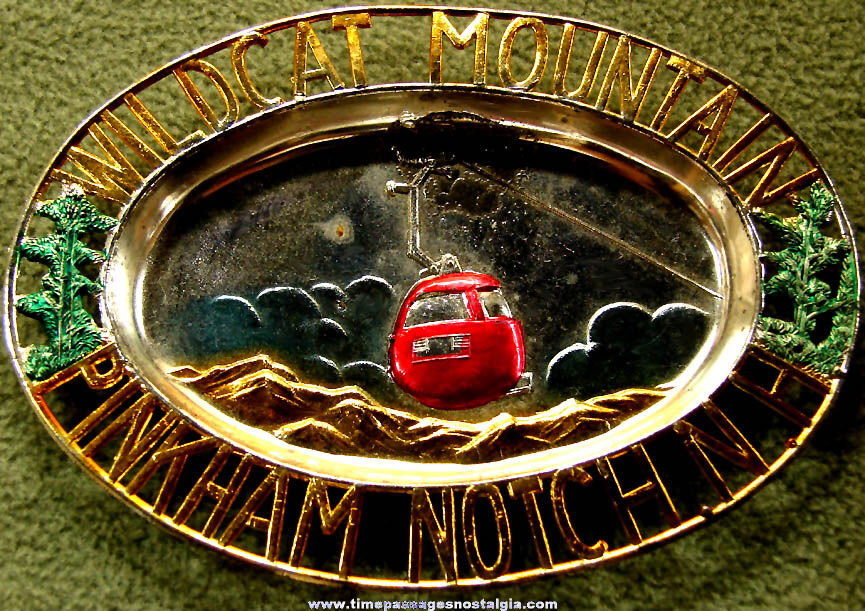 Colorful Old Wildcat Mountain Pinkham Notch New Hampshire Advertising Souvenir Tray