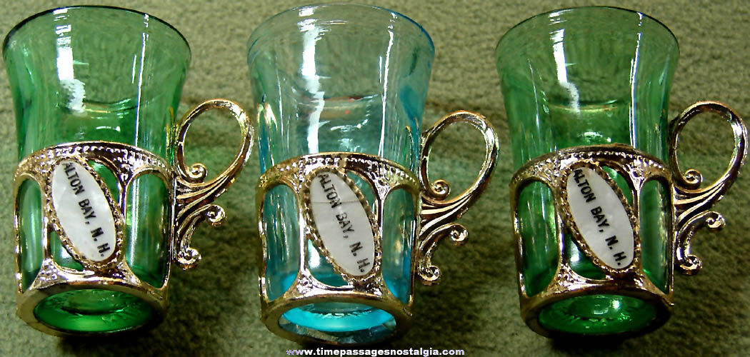 (3) Old Alton Bay New Hampshire Advertising Souvenir Drink Shot Glasses with Holders