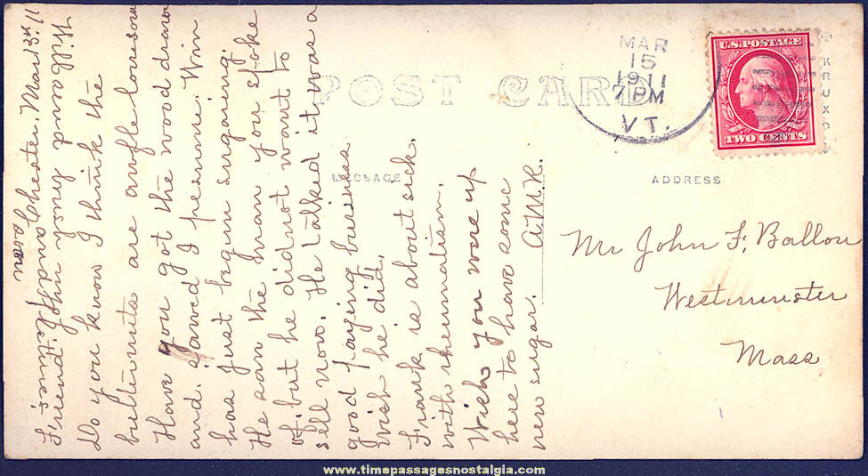 1911 Main Street South Chester Vermont Real Photo Post Card