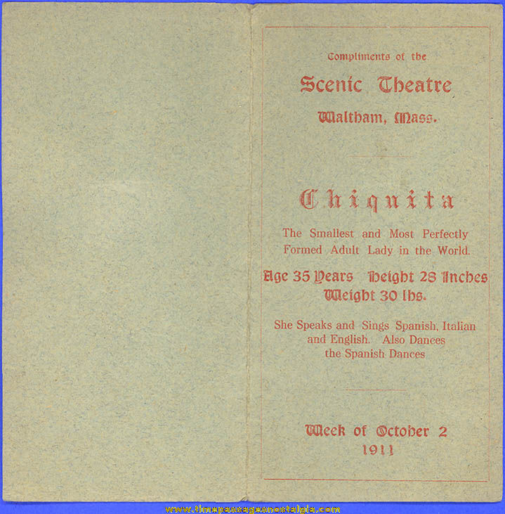 1911 Chiquita The Smallest Adult Lady In The World Waltham Massachusetts Theatre Announcement