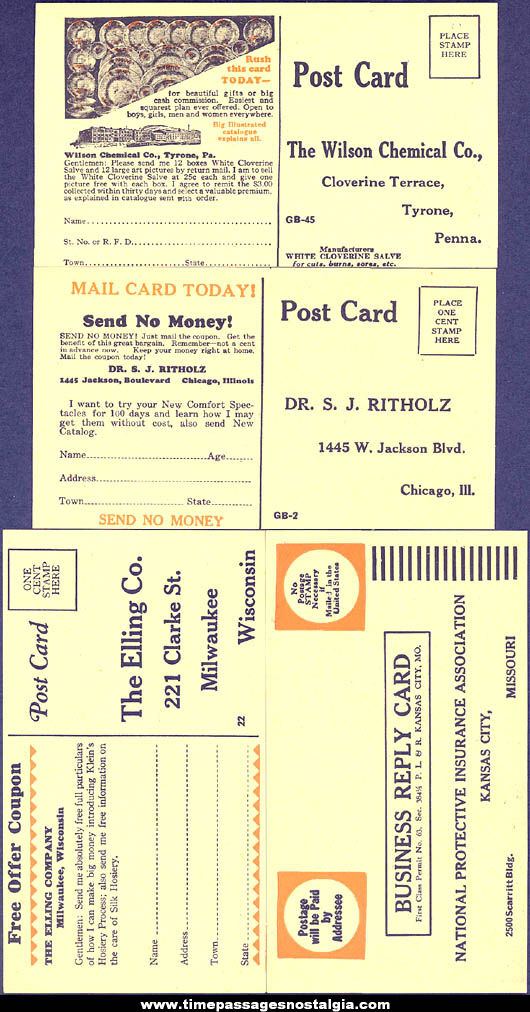 (4) Different Old Unused Business Advertising Reply Post Cards