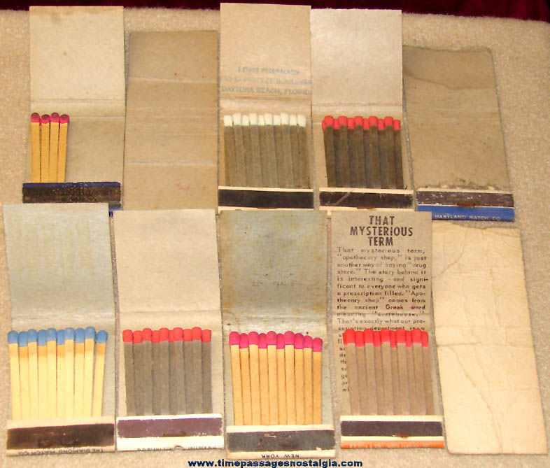 (10) Different Colorful Old Drug Store or Pharmacy Advertising Premium Match Books