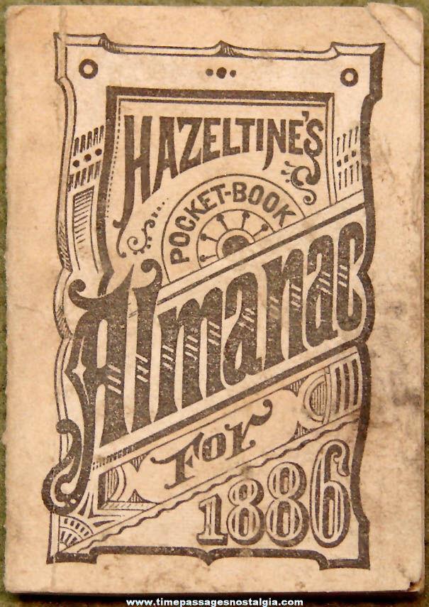 1886 Miniature Hazeltine's Advertising Premium Pocket Book Almanac