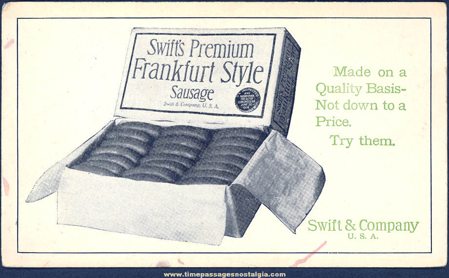 Old Unused Swift's Premium Sausage Advertising Premium Ink Pen Blotter Card