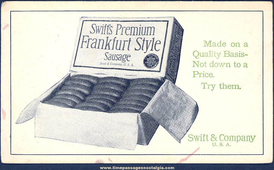 Old Unused Swift's Premium Sausage Advertising Premium Ink Pen Blotter Card