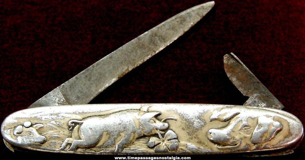 Old Gebruder Schmachtenberg Solingen Metal German Good Luck Pig Pocket Knife