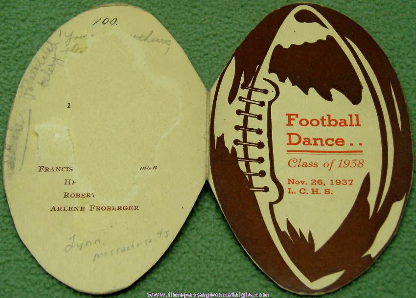 1937 Lynn Classical High School Massachusetts Football Dance Advertising Card