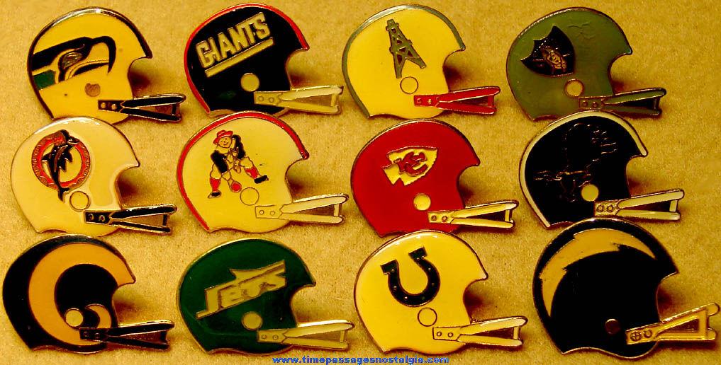 (12) Different NFL Team Advertising Football Helmet Logo Pins