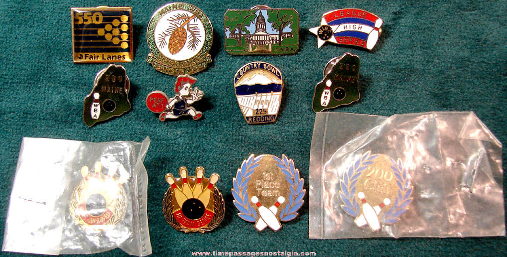 (12) Enameled Bowling Sports Event Advertising and Award Pins