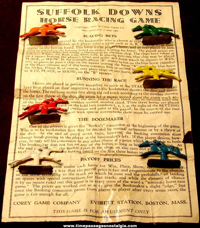 (7) ©1938 Corey Game Company Suffolk Downs Horse Racing Game Parts