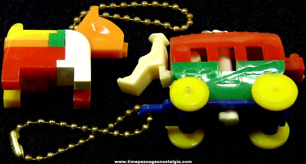 (2) Different Colorful Old Toy Key Chain Puzzles