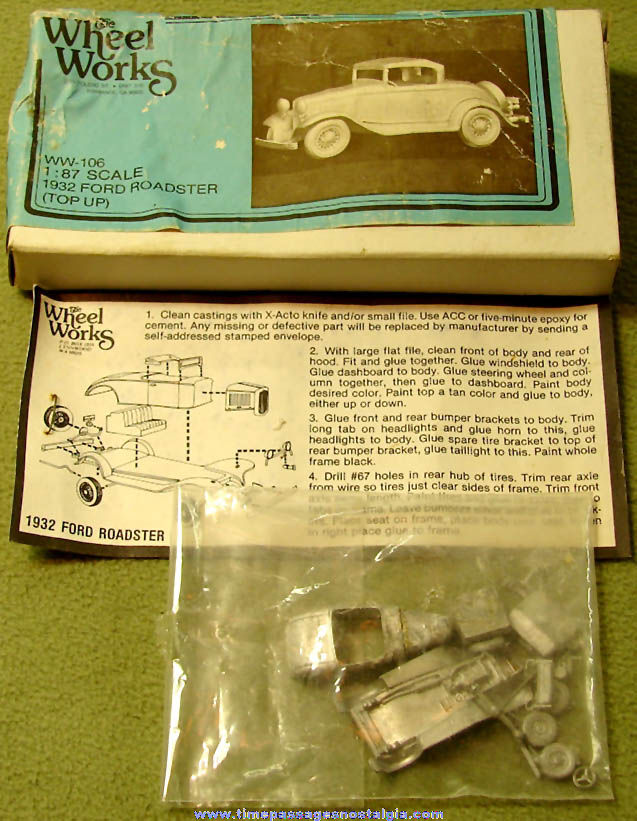 Unbuilt 1932 Ford Roadster Wheel Works Miniature Metal Toy Model Kit