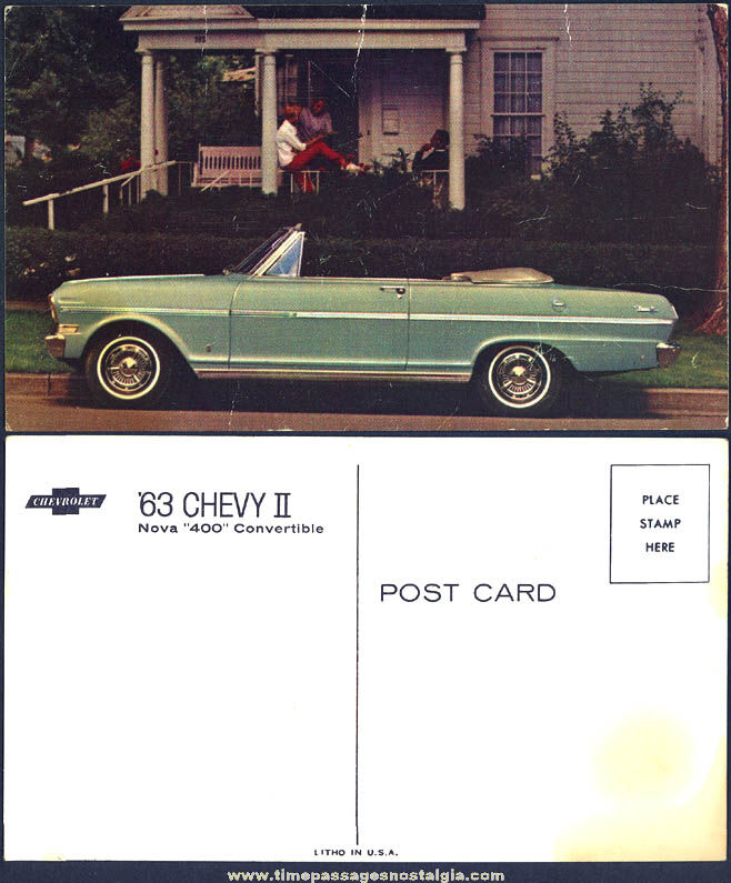 Old Unused 1963 Chevrolet Chevy II Nova 400 Convertible Dealership Advertising Post Card