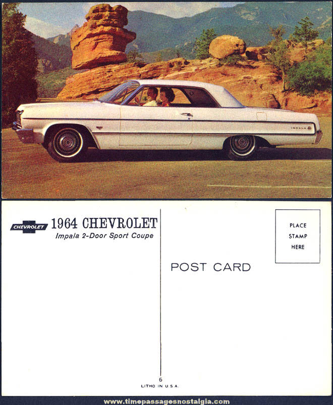 Old Unused 1964 Chevrolet Impala Sport Coupe Dealership Advertising Post Card