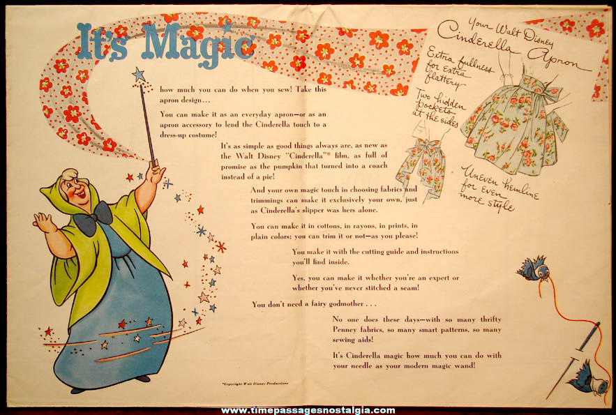1950s J. C. Penney's Advertising Premium Walt Disney Cinderella Apron Pattern & Instructions