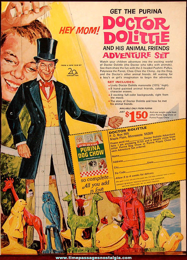 ©1967 Doctor Dolittle Purina Dog Chow Advertising Premium Adventure Play Set Advertisement