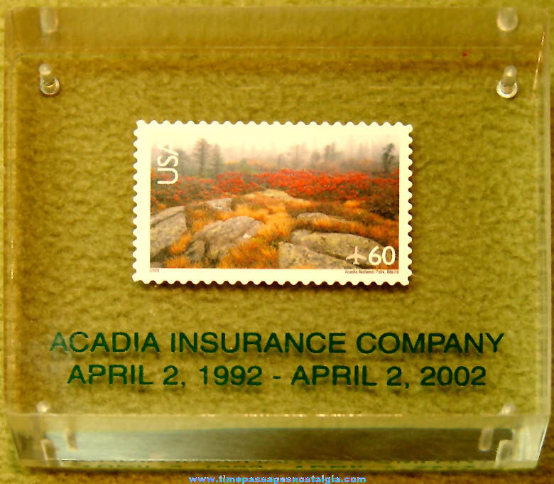 2002 Acadia Insurance Company 10th Anniversary Commemorative Paper Weight