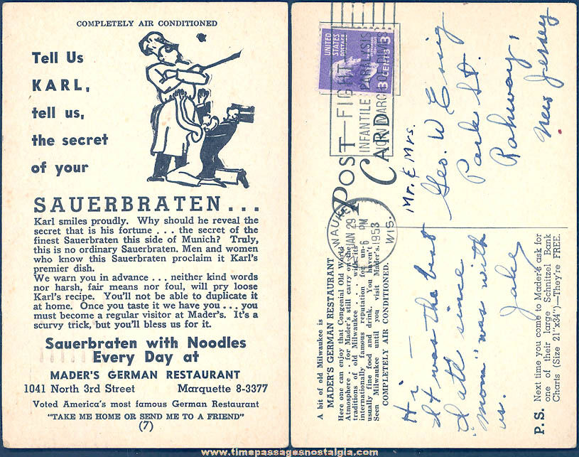1953 Mader's German Restaurant Milwaukee Wisconsin Advertising Post Card