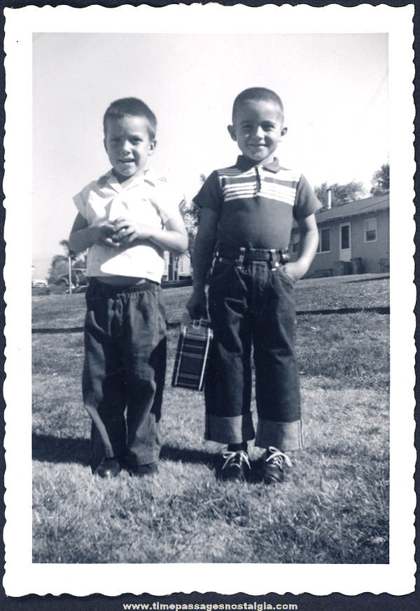 1960 Young Boys Dressed For Kindergarten with Lunch Box Black & White Photograph