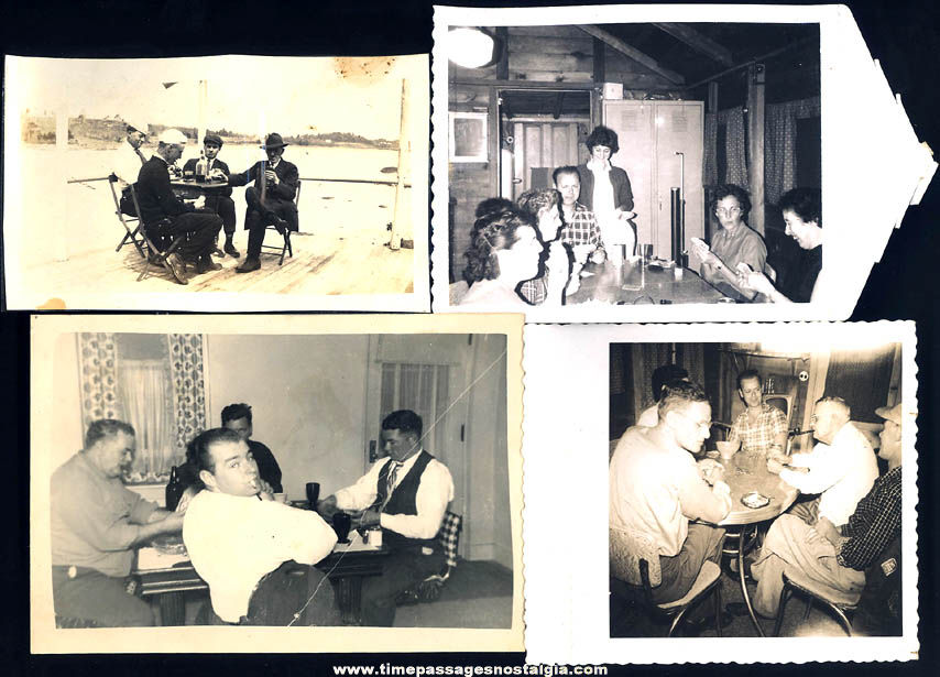 (4) Old Black & White Photographs of People Playing Card Games