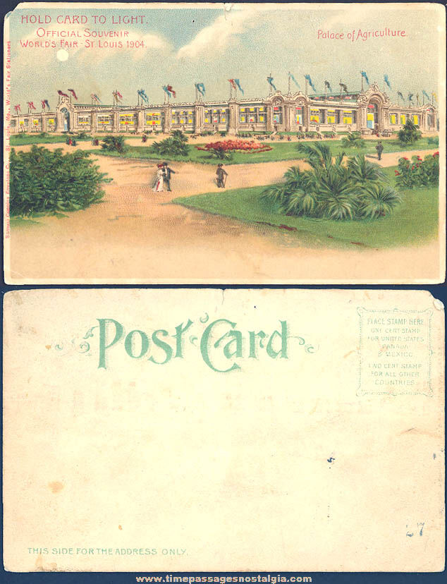 1904 St. Louis World's Fair Palace of Agriculture Advertising Hold To Light Souvenir Post Card