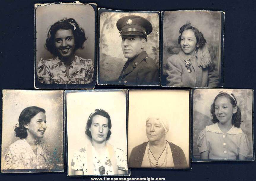 (7) Small Old Photo Booth People Photographs