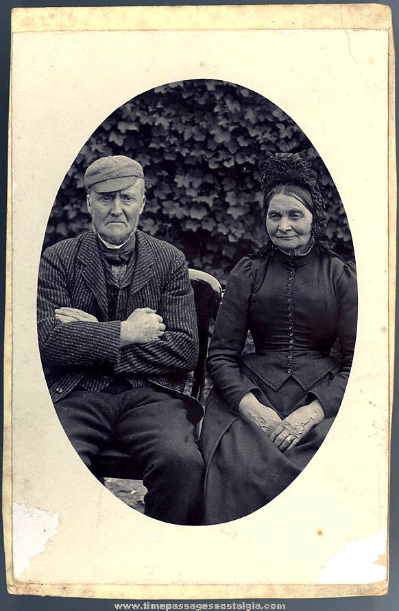 Interesting Old Black & White Scottish Couple Portrait Photograph