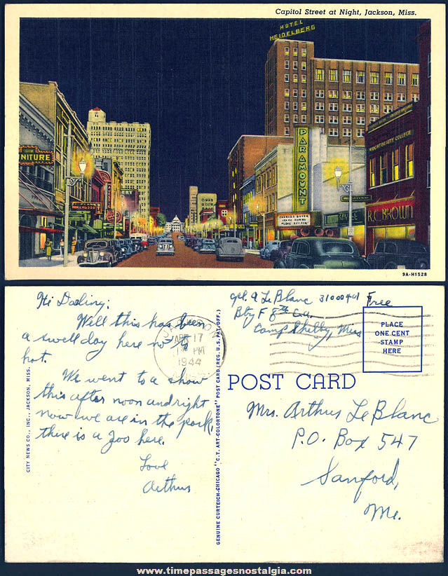 Colorful 1944 Jackson Mississippi At Night Linen Post Card