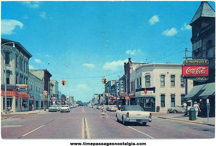 1967 Greenville Michigan City Street Souvenir Post Card