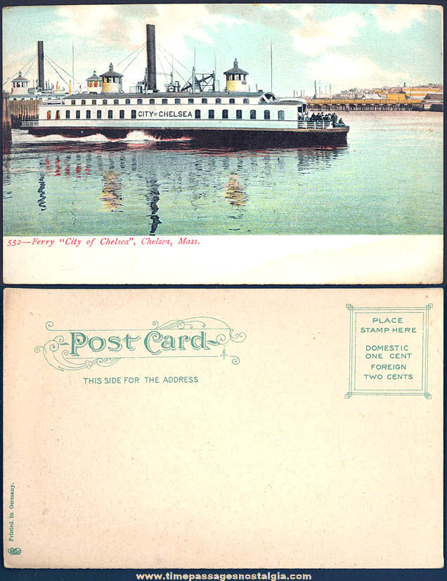 Unused Early 1900s City of Chelsea Ferry Boat Massachusetts Advertising Souvenir Post Card