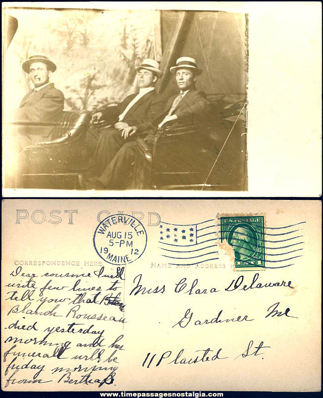1912 Three Men In An Early Automobile Real Photo Post Card