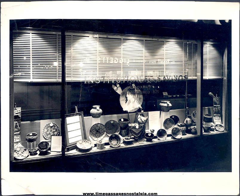 1958 Native American Indian Basket Bank Window Display Photograph