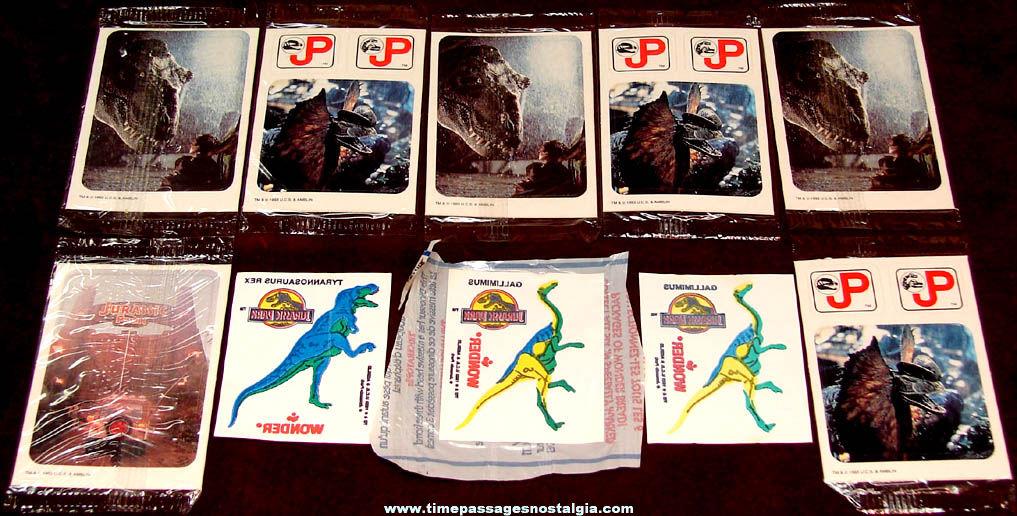 (10) 1990s Jurassic Park Movie Advertising Premium Sticker Packets & Tattoos