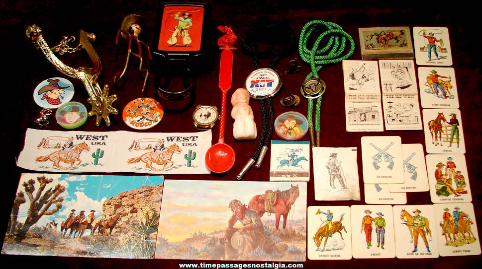 (34) Small Old Western American Cowboy Related Items