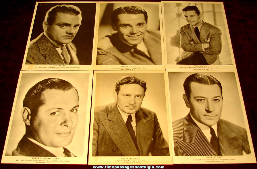 (6) Different Old Movie & Television Star Actor Fan Pictures