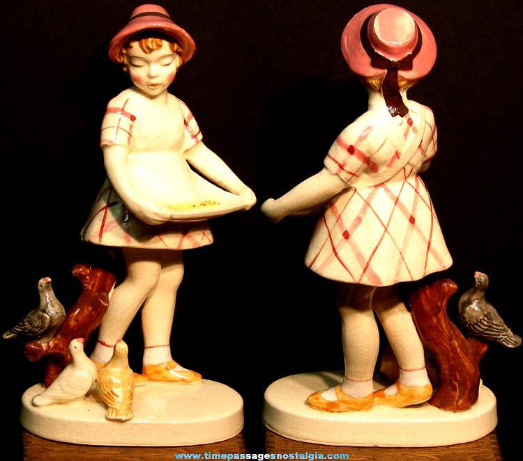 Vintage Young Lady Feeding Birds Hinode Porcelain or Ceramic Figurine
