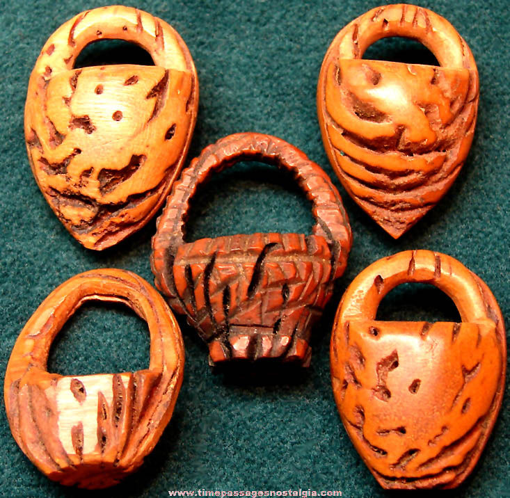 (5) Old Carved Miniature Peach Pit Baskets