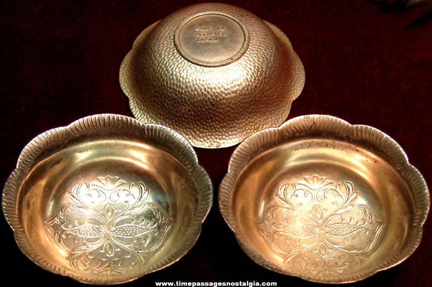 (3) Old Matching Occupied Japan Miniature Metal Bowls With Flowers