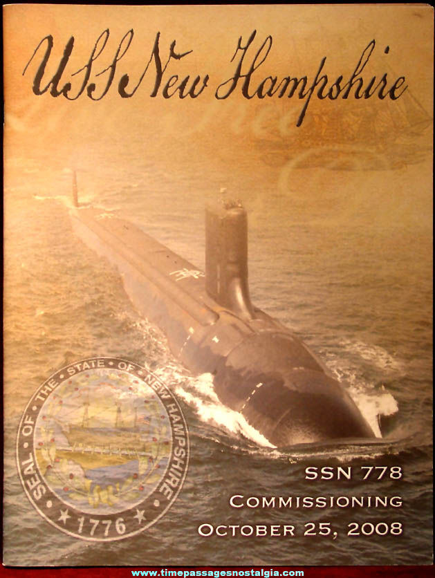 2008 United States Navy U.S.S. New Hampshire SSN-778 Submarine Commissioning Souvenir Book