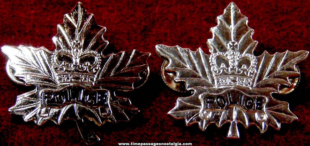 (2) Old Canadian Police Uniform Metal Maple Leaf Screw Back Pins