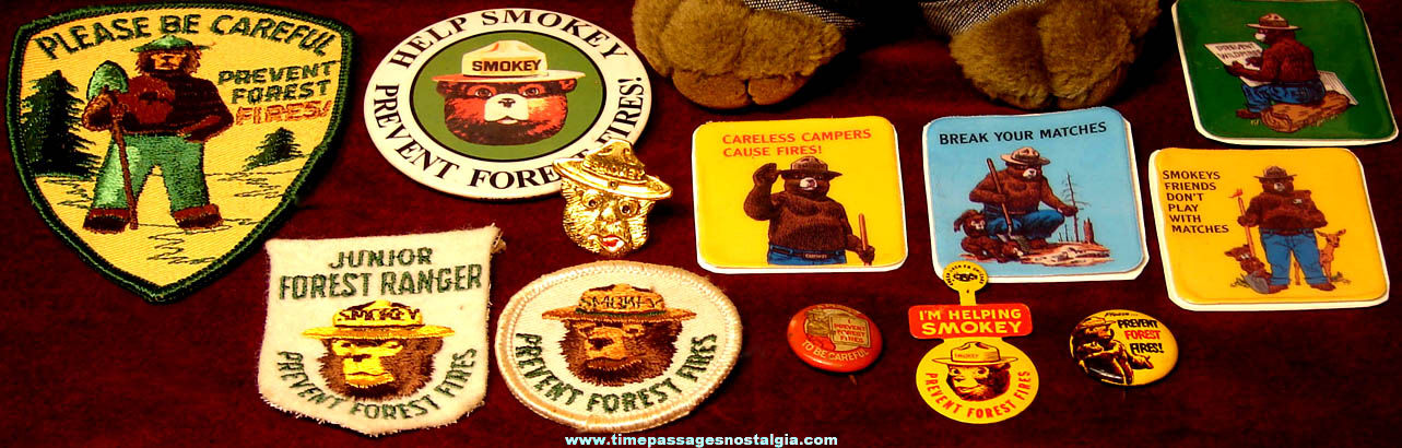 (15) Different Old Smokey Bear Advertising Character Items