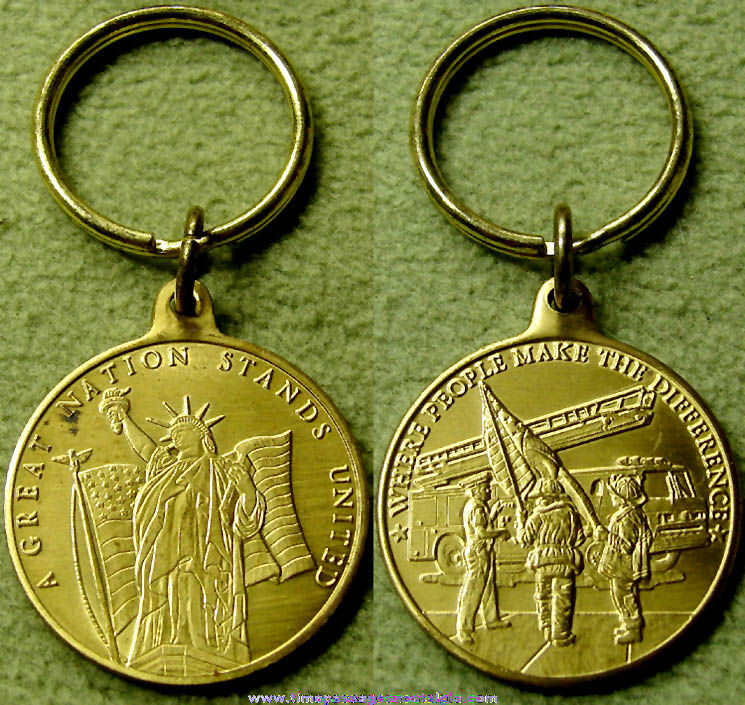 American Fire and Police Commemorative Brass Medallion Key Ring