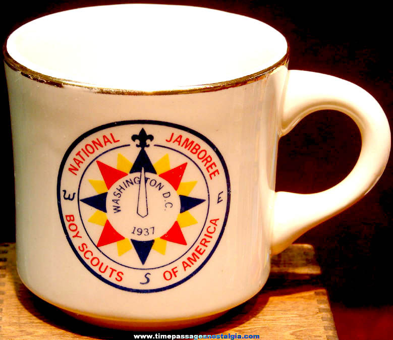 1937 Boy Scouts Washington D.C. National Jamboree Advertising Coffee Cup