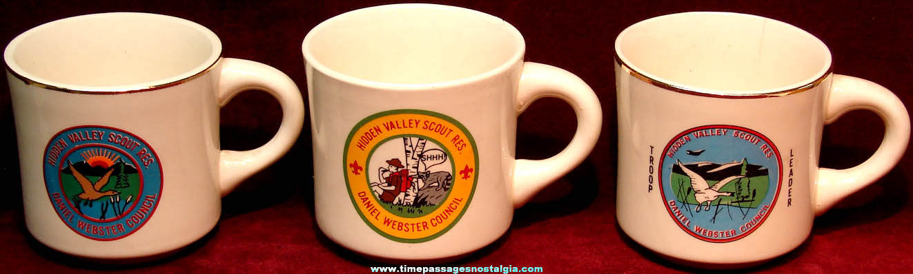 (3) Different Old Boy Scouts Daniel Webster Council Advertising Coffee Cups